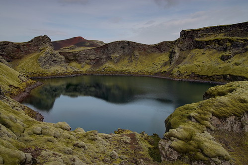 Lake on one of the Laki craters, Iceland