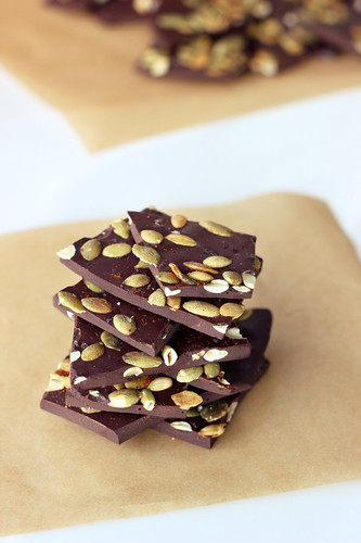 Spicy Dark Chocolate Bark with Toasted Pumpkin Seeds and Sea Salt