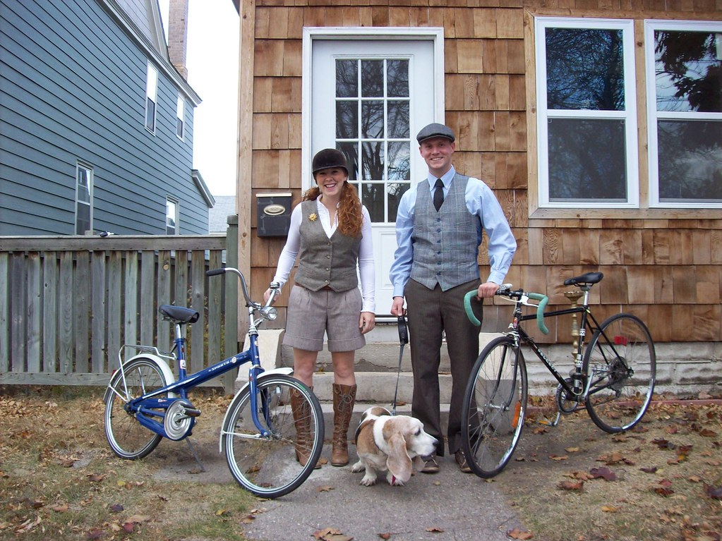 Nate and I (And Molly the Basset Hound) before the Tweed Ride