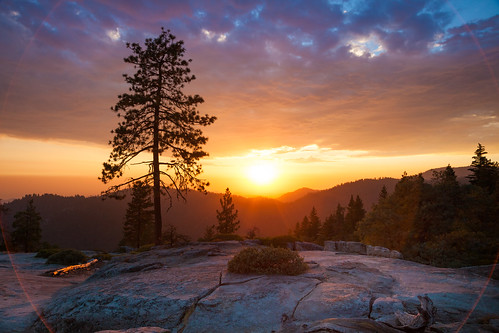 Beetle Rock Sunset #3 (Circle Flare), Sequoia National Park by flatworldsedge