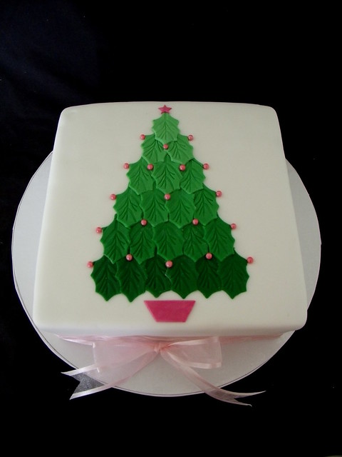 Cake Design In Red Ribbon : Ombre Christmas Tree Cake with Pink Ribbon Flickr ...