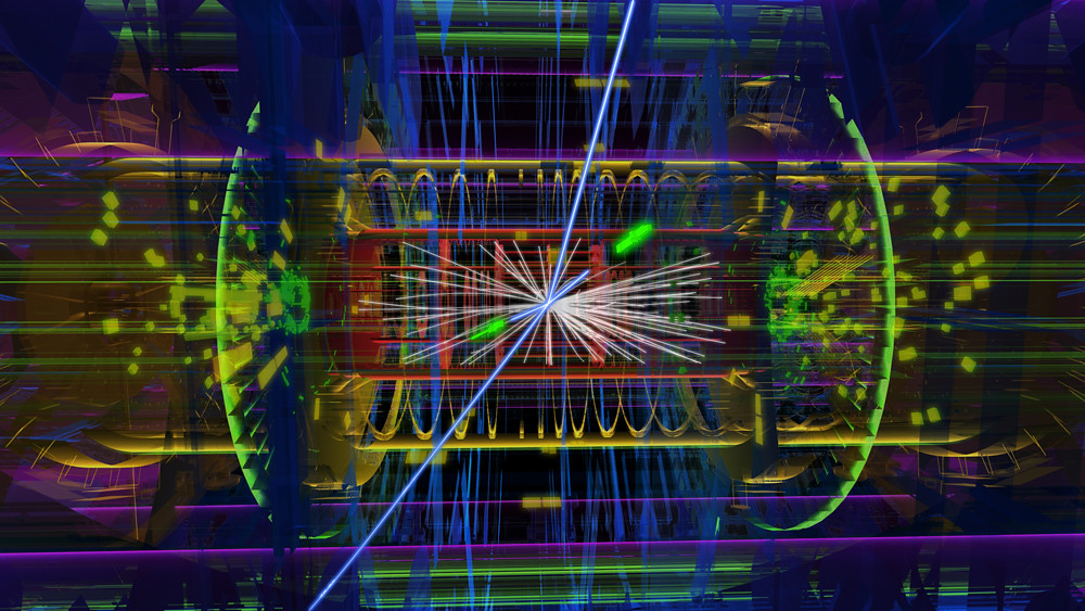 A candidate Higgs event from a proton-proton collision at the ATLAS experiment, producing two electrons (short blue tracks) and two muons (long blue tracks).