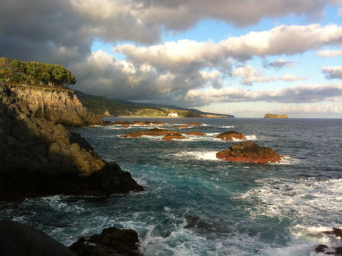 ocean blue light sea sky seascape black clouds landscape evening rocks warm waves colours atlantic thumbsup volcanic azores caloura digitalcameraclub motifdchallengewinner friendlychallenges