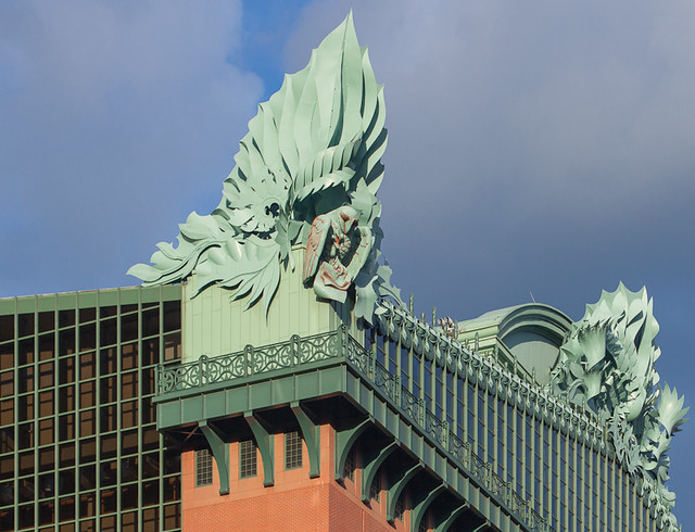 Eagle in Seed Pods - Ornament on Roof of Harold Washington Library, Chicago Illinois