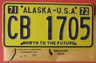 ALASKA 1971-72 ---COMMERCIAL BUS LICENSE PLATE