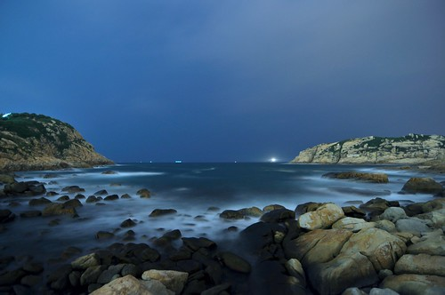 ocean sea rock night dark island hongkong long wave pwpartlycloudy