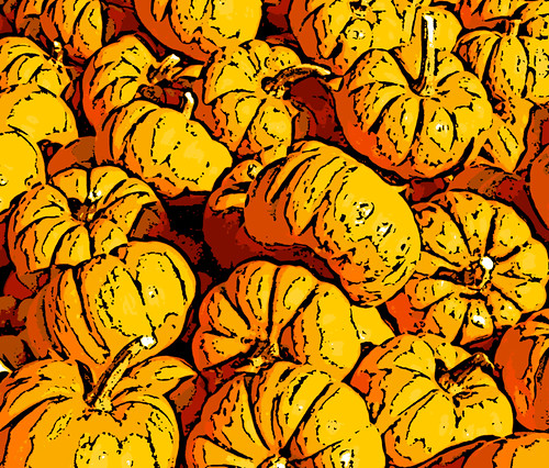 Piles of Pumpkins (Digital Woodcut) by randubnick