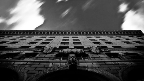 shadow ohio urban white black building brick statue architecture clouds twilight long exposure downtown arch bell places toledo gloom att