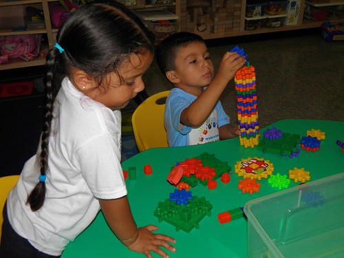 Some of the TK students busy with building blocks