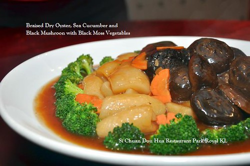 B Braised Dry Oyster Sea Cucumber and Black Mushroom with Black Moss Vegetable