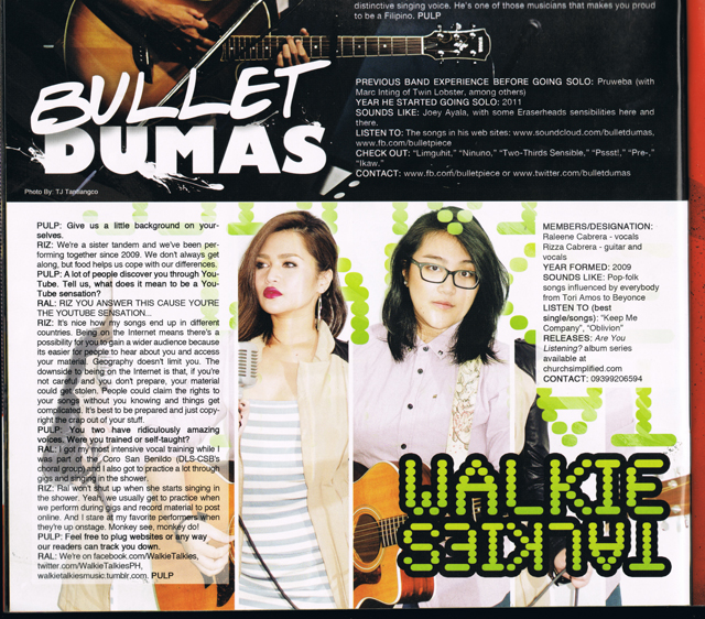 Walkie Talkies - PULP magazine January 2013