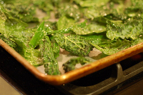 Kale chips with sesame seeds and sea salt about to go into the oven by Eve Fox, Garden of Eating blog, copyright 2013