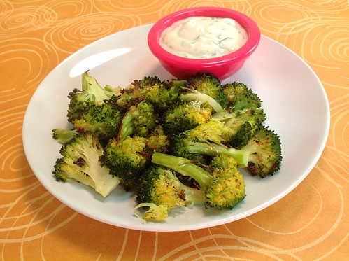 Roasted Broccoli with Garlic Yogurt Dip