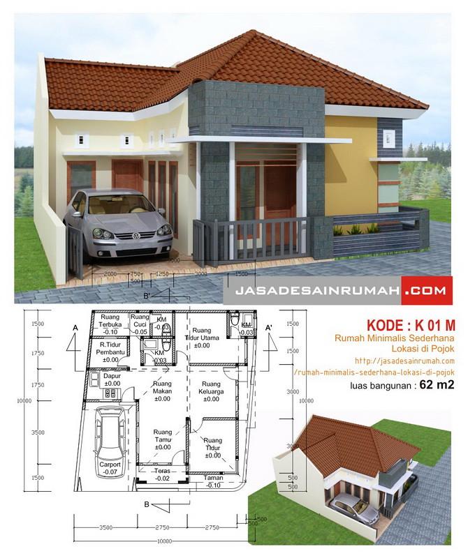 Rumah Minimalis Sederhana Lokasi di Pojok Jasa Desain Rumah