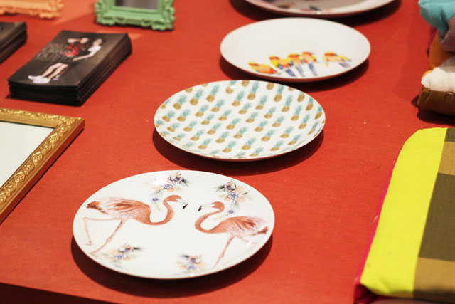 flamingo plates crockery Urban Outfitters SS13 press day