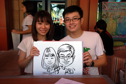 caricature live sketching for Mark Lee's daughter birthday party - 2