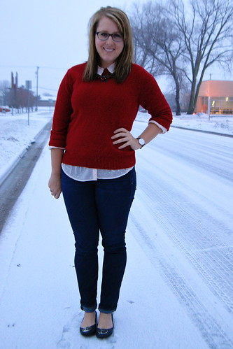 Metallic Polka Dots + Red Sweater + Skinny Jeans 3