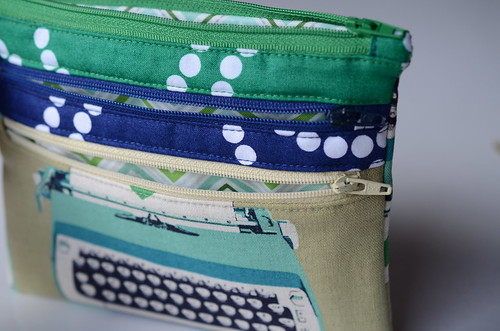 Triple Zip Pouch by Poppyprint