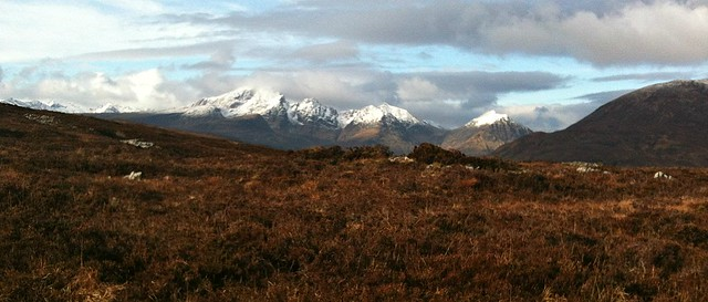 The Cuillins from Strath Suardal. Broadford