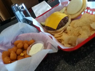 Cheese curds and burger