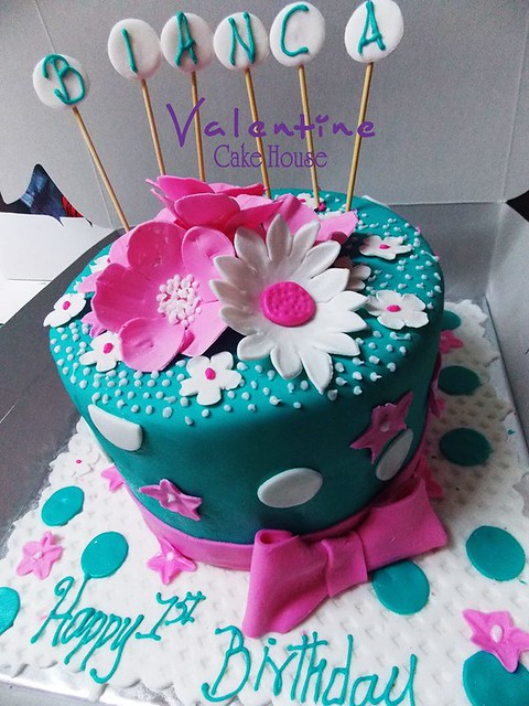 Turquoise Green and Baby Pink by Valentine Cake House Limited