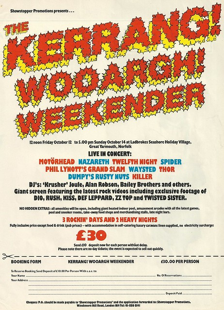 10/12-14/84 Kerrang! Wooargh! Weekender @ Ladbrokes Seashore Holiday Village, Great Yarmouth, Norfolk, England