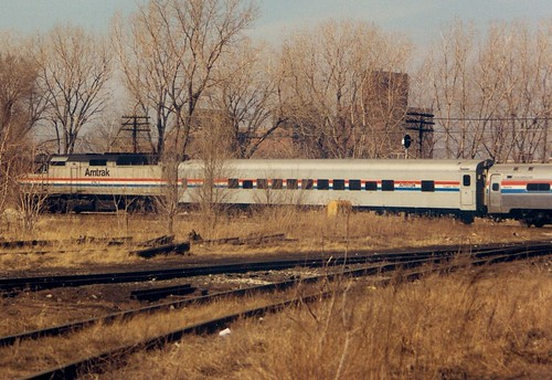 Westbound Amtrak passing through Brighton Junction.  Chicago Illinois.  January 1988. by Eddie from Chicago