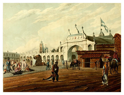 005-Plaza del mercado en Buenos Aires-Picturesque illustrations of Buenos Ayres and Monte Video..-1820- Emeric Essex Vidal