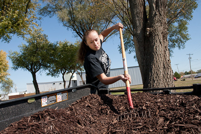 Student works on campus grounds crew