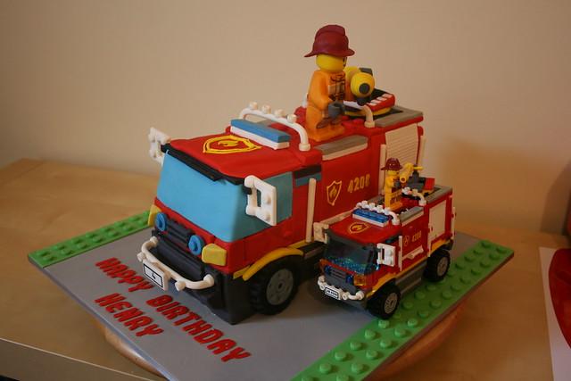 Cake &Amp; Lego Fire Truck Comparison Iii