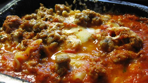 lasagna with sausage cooked