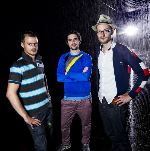 4. Hannes Koch, Stuart Wood and Florian Ortkrass (L to R) © Felix Clay. Rain Room - Random International 2012. Courtesy of Barbican Art Gallery