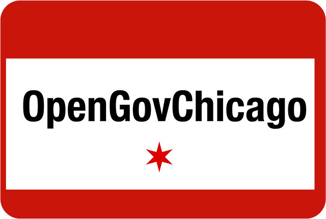 "OpenGovChicago Logo with the phrase ""OpenGovChicago"" and the Chicago Star"