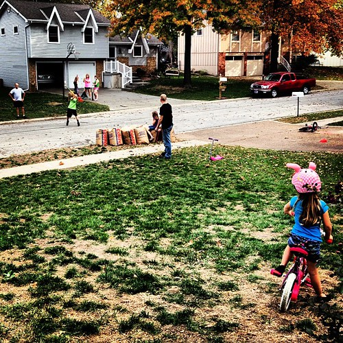 Neighborhood Wiffleball, chatting, bike riding and bug hunting