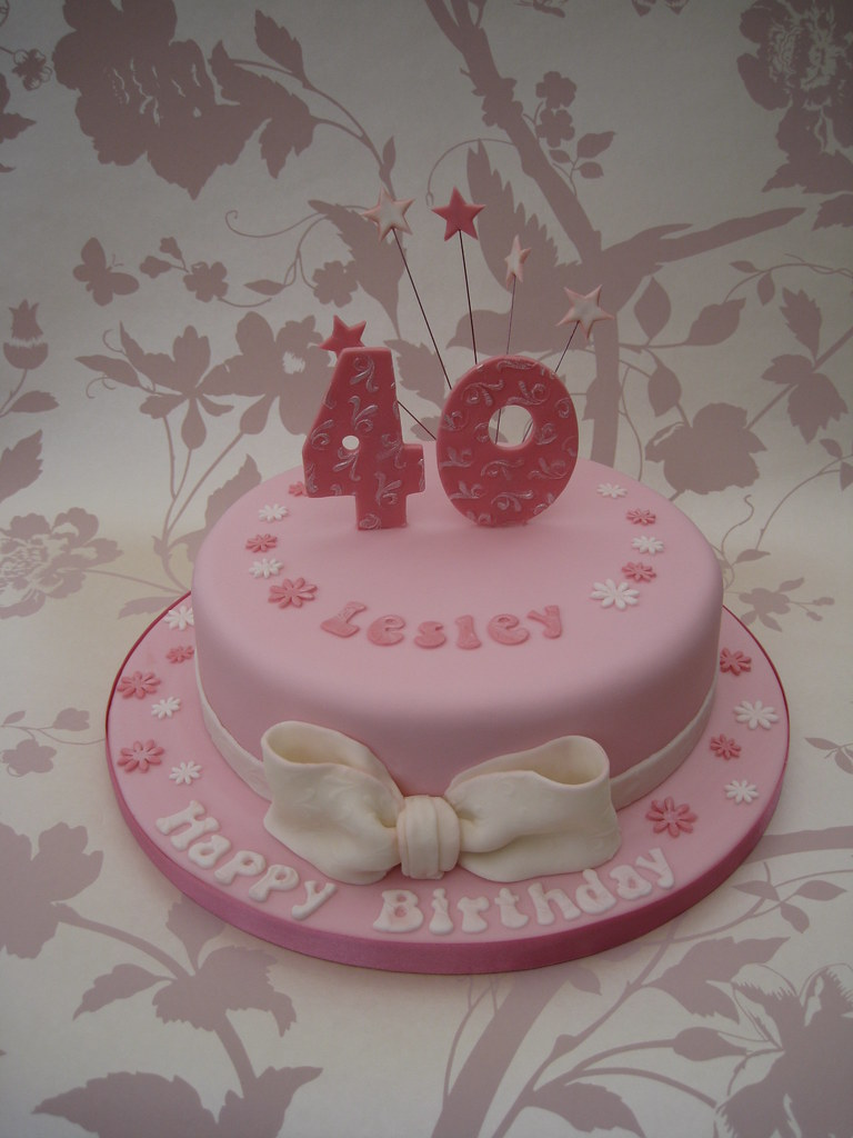 Pink 40th Birthday Cake