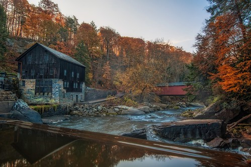 autumn fall damn coveredbridge hdr highdynamicrange mcconnellsmill photomatix mcconnellsmillstatepark davedicello hdrexposed