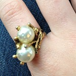entwined pearl ring from tag sale in Port Washington