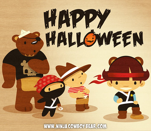 Happy Halloween from Ninja Cowboy Bear & Pirate Girl!