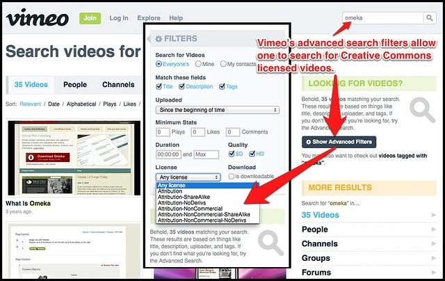 Searching Vimeo for Creative Commons licensed videos