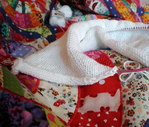 Knitting under a patchwork blanket