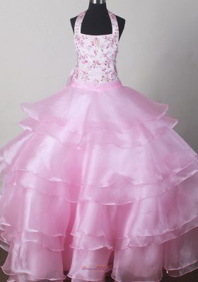 little girl pageant dress with embroidery