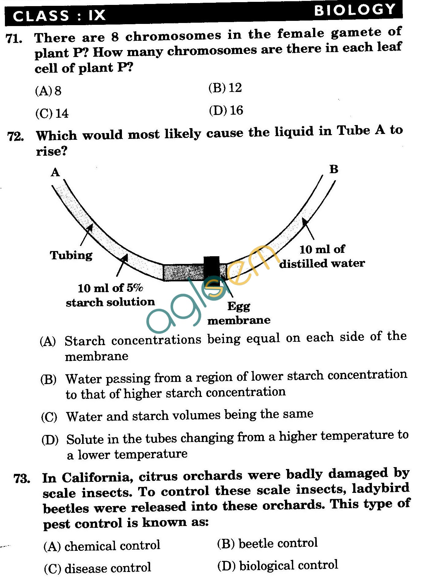 NSTSE 2009 Class IX Question Paper with Answers - Biology
