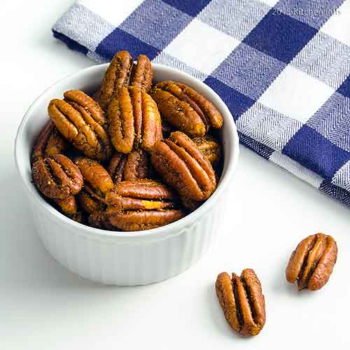Spiced Roasted Pecans in Ramekin with Napkin
