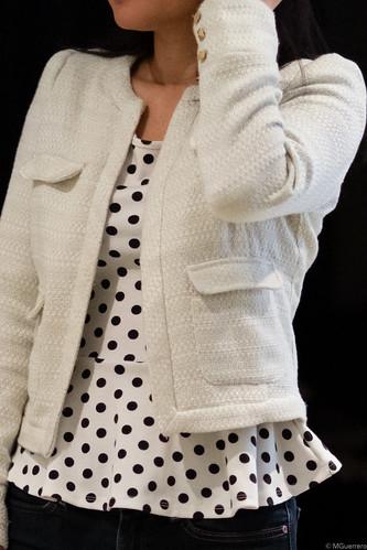 tweed jacket polka dot peplum blouse