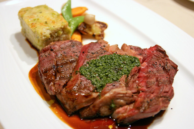 Full a la carte portion: Grilled Basque Wagyu Striploin  with Leek Bread Pudding  & Roasted Sesame-Coriander Vegetables