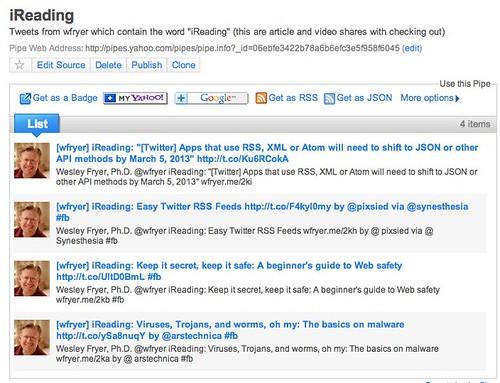 iReading Yahoo Pipe