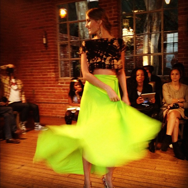 A neon flamenco dancer! @LuxuryJones @LAFashCouncil #lafw