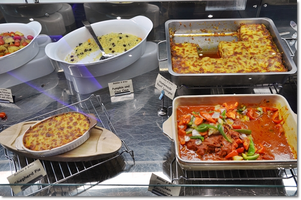 Glass Counter with Hot Food