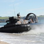 Royal Marine LCAC(LR) Hovercraft Landing on a Beach