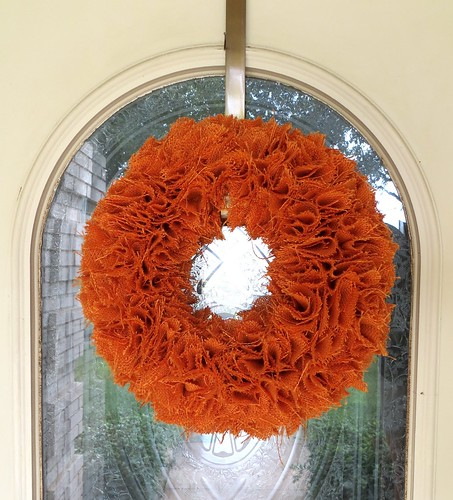 Fall Orange Burlap Wreath